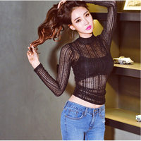 Spring Korean Large Size Women S Small Stand Collar Sexy Lace Long Sleeved Slim Was Thin