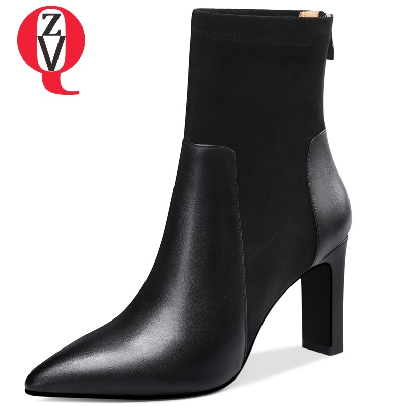 ZVQ newest fashion sexy genuine leather ankle boots pointed toe super high strange style black and beige large size women shoes все цены