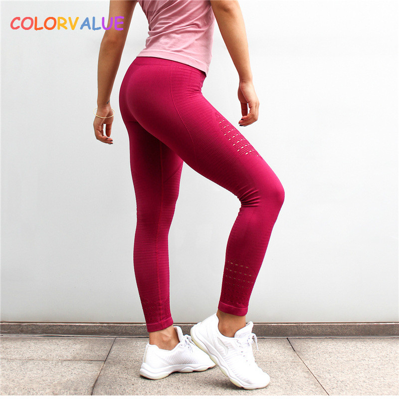 Colorvalue Seamless Hollow Out Fitness Leggings Women Tummy Control Gym Running Tights Widen Waistband Workout Athletic Pants black hollow out stretchable leggings