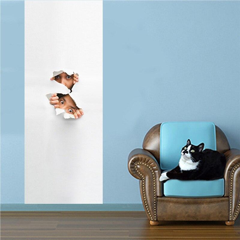 Peeping Eyes Funny Occation 3D Wall Door Sticker Living Room Bedroom Wall Decals Home Decor PVC Imitation 3D Door Stickers-in Door Stickers from Home & Garden