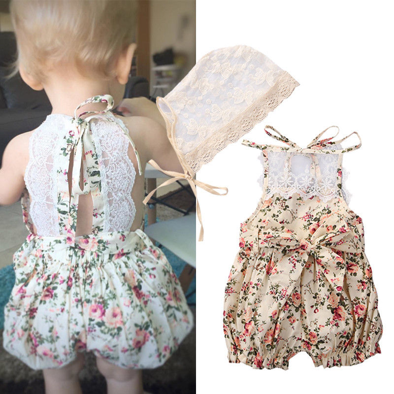 4a015bb25 Floral Lace Rompers Newborn Kids Baby Girl Infant Romper Jumpsuit ...
