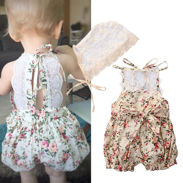 2ae89121add4 Floral Lace Rompers Newborn Kids Baby Girl Infant Romper Jumpsuit One-Pieces  Clothes Outfits Set