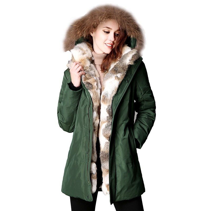 2017 New Winter Women Down Puffer Jacket Female Raccoon Fur Hooded Duck Down Coats Warm Long Coat Thicken Parkas Abrigo Mujer white stage background snow pine snow blue sky festival background wedding photography backdrops