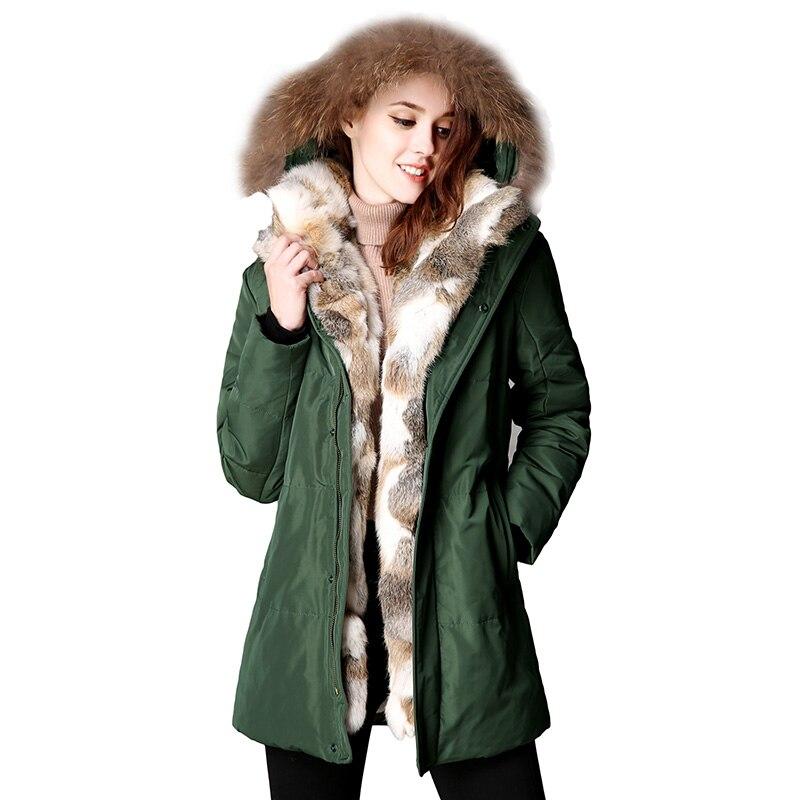 2017 New Winter Women Down Puffer Jacket Female Raccoon Fur Hooded Duck Down Coats Warm Long Coat Thicken Parkas Abrigo Mujer