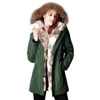 2017 neue Winter Frauen Unten Jacke Weibliche Waschbären Pelz kapuze Duck Down Mäntel Warm Langen Mantel Verdicken Parkas Abrigo Mujer