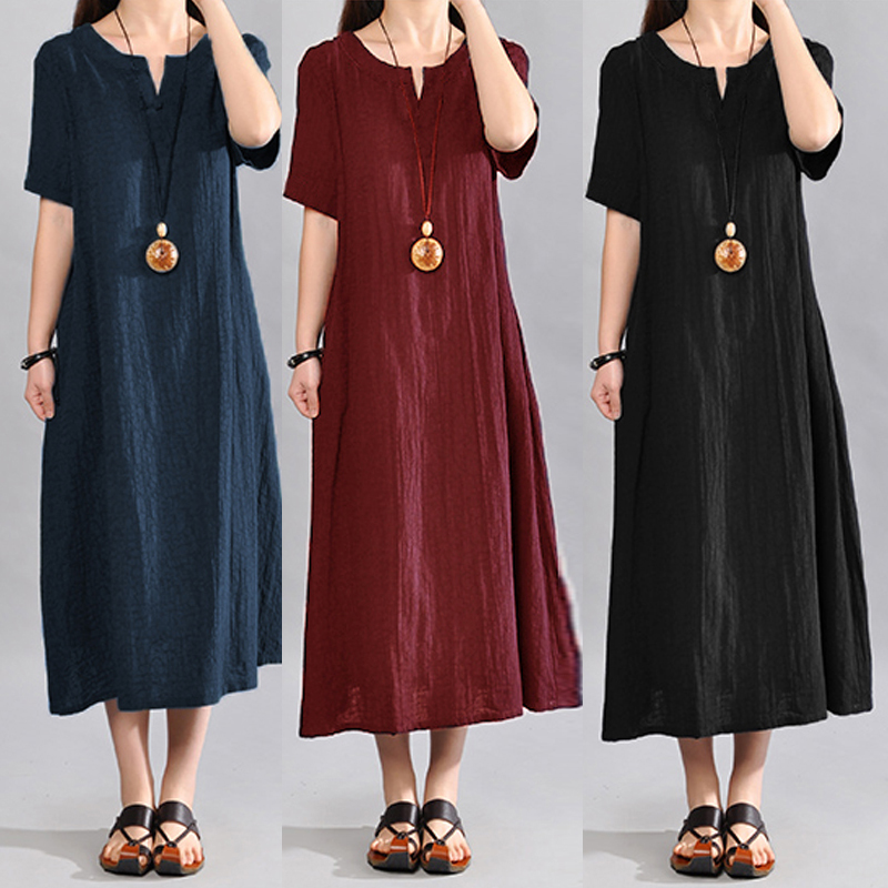 Celmia Summer Sundress 2020 Women Vintage Linen Dress Plus Size Casual V Neck Short Sleeve Pockets Casual Loose Midi Vestido 5XL