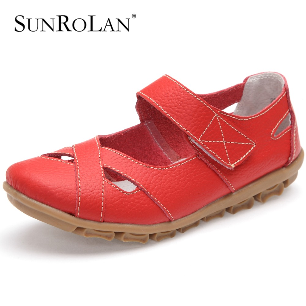 SUNROLA 2017 Plus Size 11 Casual Flats Spring Summer Shoes Woman White Black Nurse WorkingShoes In Flats Ladies Beach Shoes 2005 female spring summer autumn comfort flats shoes black white lace ups casual ladies girl flat shoe on sales in discount wy044