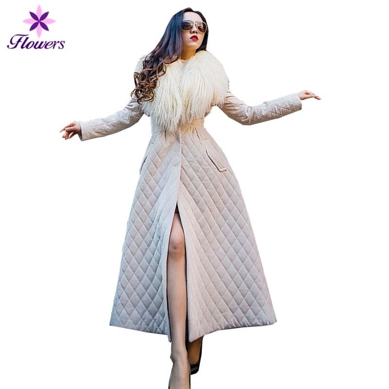 X long парка теплое хлопковое зимнее пальто женская новая уличная одежда Большие размеры мех ягненка большой меховой воротник Юбка Тип длинно