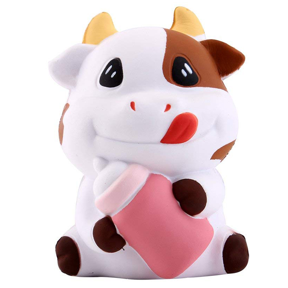 New Cute Bottle Cow Squishy Simulation Cream Scented Slow Rising Soft Squeeze Toy Stress Relief  Novelty Fun For Kid Xmas Gift