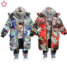 Kids winter jacket Hooded Winter Jackets Graffiti Camouflage Parkas For Teenagers Boys girls Thick Long Coat Kids Clothes недорого