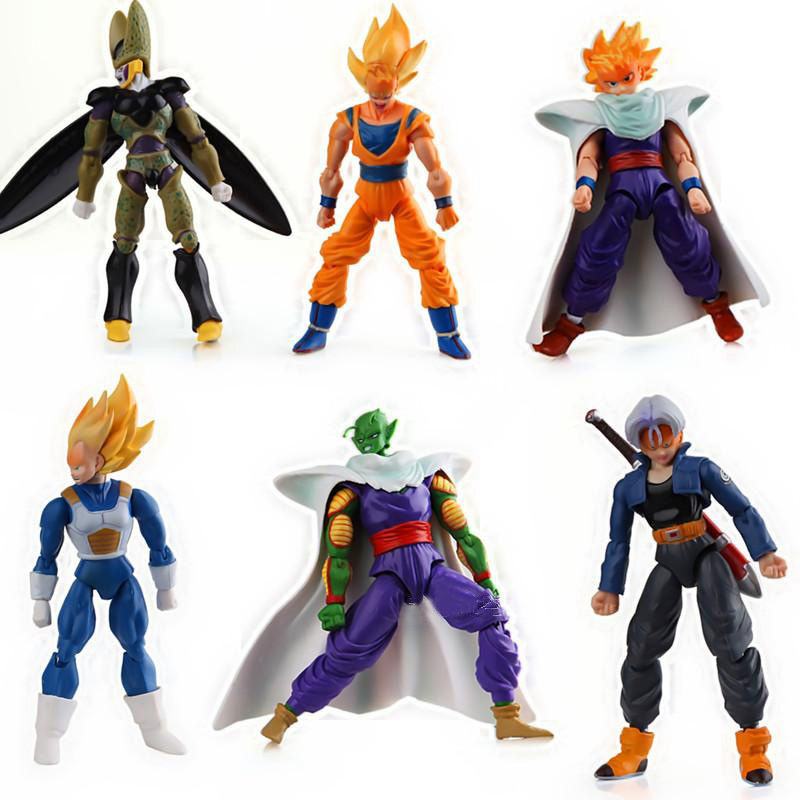 6pcs/<font><b>set</b></font> <font><b>Dragonball</b></font> Z Dragon Ball DBZ Anime 15cm Goku Vegeta Piccolo Gohan super saiyan Joint Movable Action <font><b>Figure</b></font> Toy image