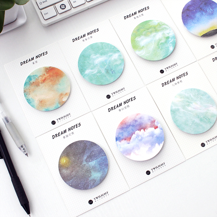 Colorful Sky Sticky Note Self-stick Note Office Memo Note, 30pcs/pad