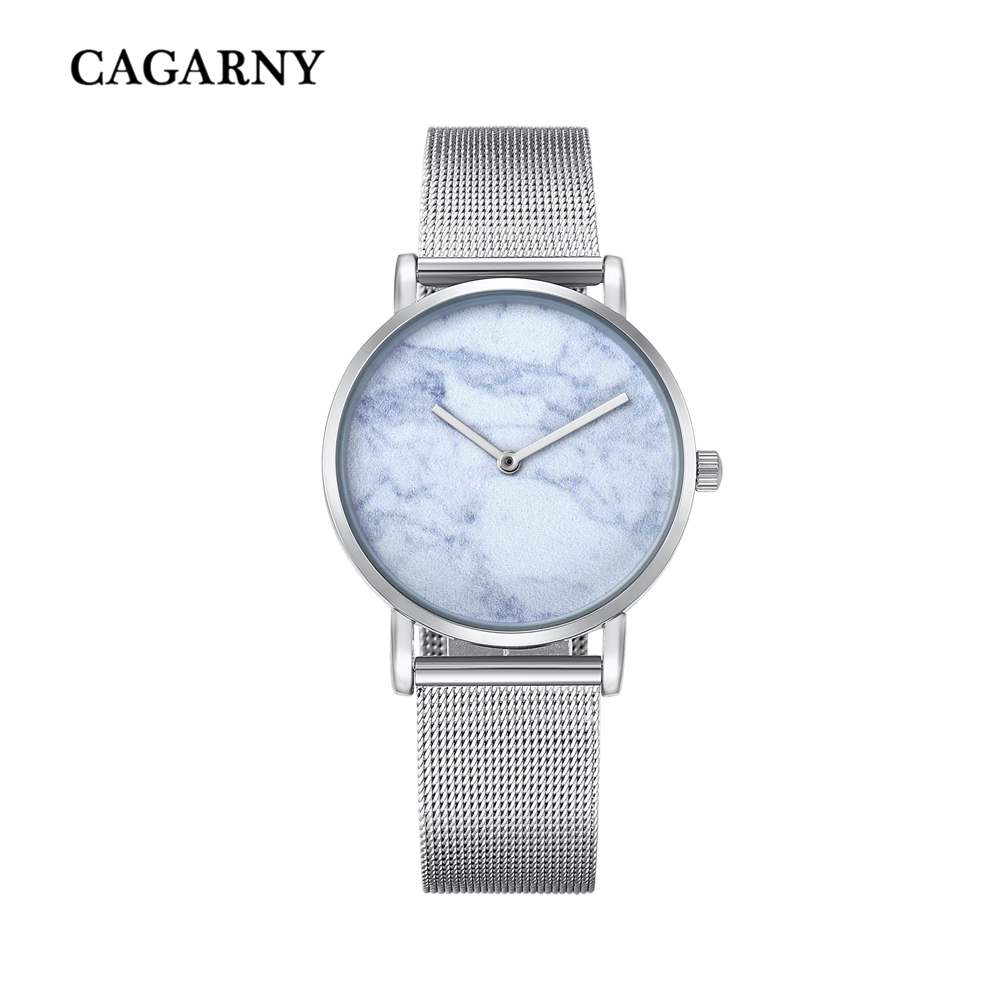 top luxury brand cagarny quartz watch women silver stainless steel mesh band simple style ladies wrist watches waterproof 2019 trendy (9)