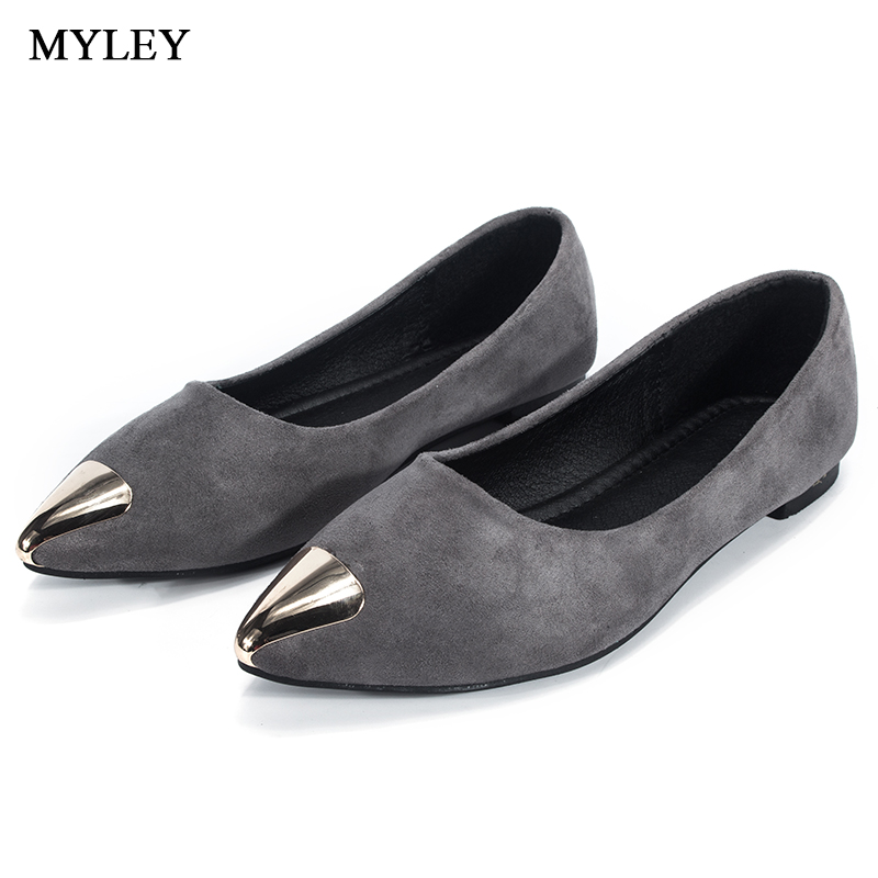 MYLEY 2017 Spring Autumn New Design Ladies Flats Shoes Pointed Toe Female Footwear Slip-on Boat Shoes for Women cresfimix women cute spring summer slip on flat shoes with pearl female casual street flats lady fashion pointed toe shoes