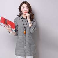 Plus Size 2017 New Women Shirts Full Sleeve Plaid Slim Straight Cotton And Linen Blouse Shirt