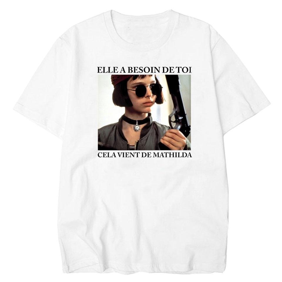 LettBao Leon Professional   T  -  shirts   Women   T     Shirt   White Harajuku   Shirt   Vintage Matilda Tee   Shirt   Femme Tops Basic Design Tshirt
