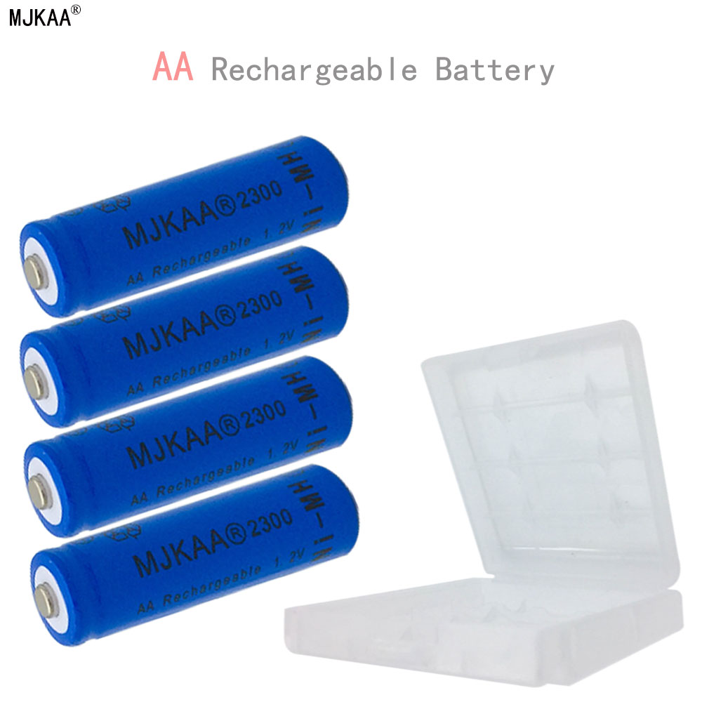 4pcs/lot 1.2V AA Rechargeable Battery with Plastic Box Ni-MH 2300mAh AA NI-MH batteries for Remote control Toys LED light