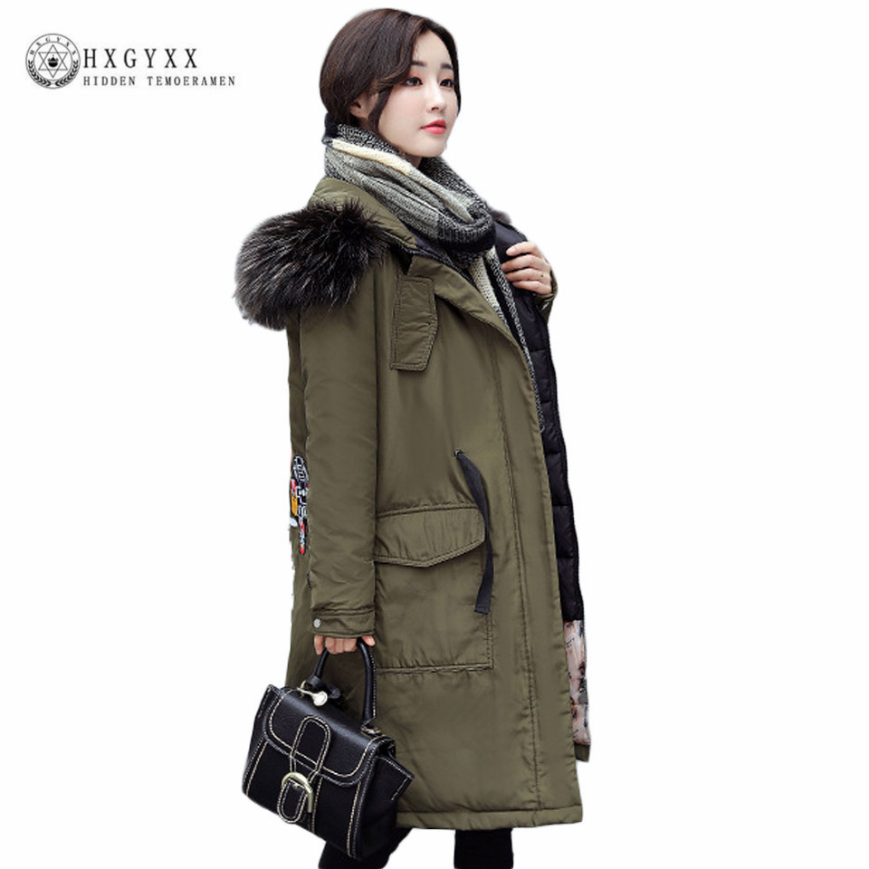 2017 Fur Fashion Hooded Green Military Parka Winter Jacket Women Outwear Plus Size Casual Quiled Coat Warm Ladies Coats Oka610 купить