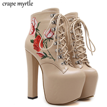 Купить с кэшбэком lace up Boots Fashion Thick Heel Ankle Boots Women High Heels Autumn Winter Woman Shoes  Embroidering Flower fur boots YMA409