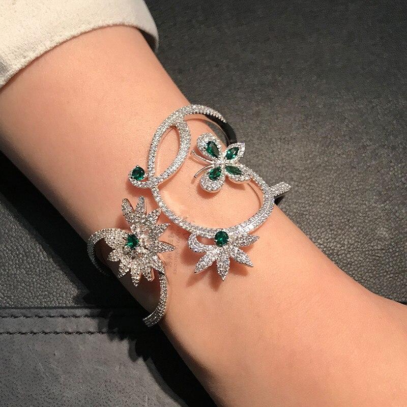 Роскошная обувь с украшением в виде кристаллов Mentha Зеленая мята циркон бабочка цветок браслет браслеты Monaco бренд 925 серебро широкие браслет