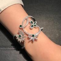 Luxury Crystal Mentha mint green zircon butterfly flower Bracelet Bangles Monaco Brand 925 sterling silver wide Bangles jewelry