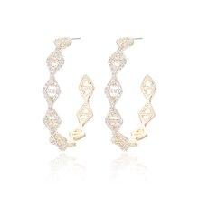 Brincos Da Moda Deslumbrante de Luxo Rodada Hoop Brincos de Ouro E Prata Cor Cubic Zirconia Pave Austríaco Jóias de Alta Qualidade