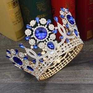Image 2 - Büyük kristal düğün gelin tacı taç gelin başlığı kadınlar kraliçe balo Diadem saç süsler kafa takı aksesuarları