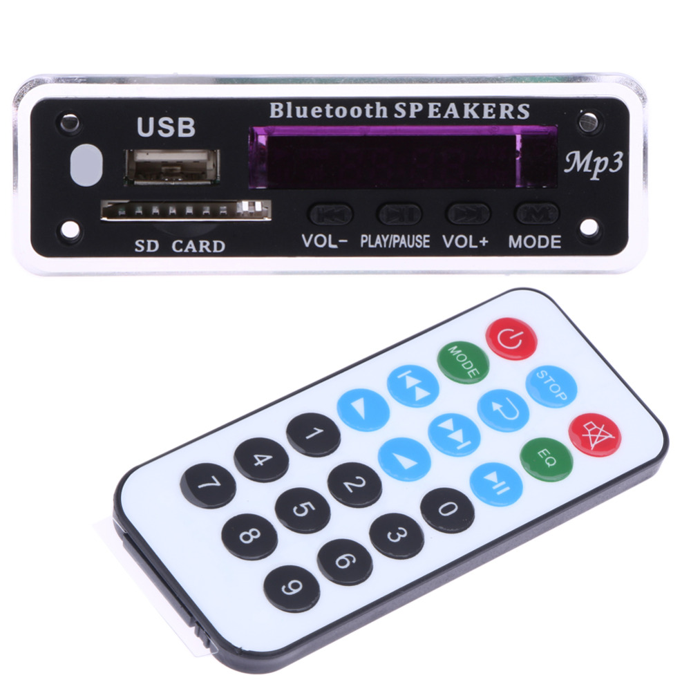 Car Styling Integrated Bluetooth MP3 Audio Decoding Board Module SD Card Slot/USB/FM/Remote Decoding/AUX Remote Control For Car
