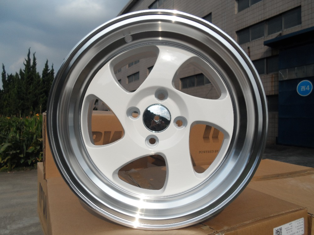 15x8 0 White TMB STYLE STAGGERED WHEEL RIMS W014