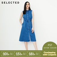 SELECTED women's sleeveless lace denim dress C|418242501