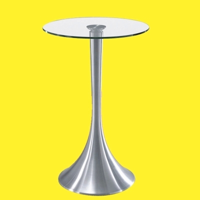 Simple modern toughened glass small round bar table living room home leisure fashion high round table living room high foot small bar table toughened glass bars table fashion household coffee bar table