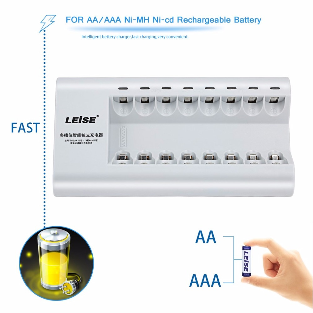 LEISE-828C Intelligent Fast Charging Battery Charger Multi-slot Convenient Charging Suitable For AA AAA Rechargeable Battery