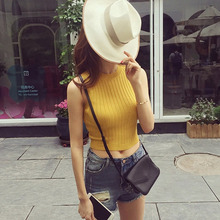 Knitted Women Tank Tops Fashionable Lady Spring Summer Short Style Vest O Neck Sexy Camis Female Summer Navel Cropped Top Vest