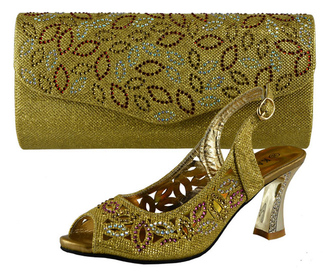 2016 Latest Italian Shoes With Matching Bags Women Gold Color Nigeria Wedding And Bag To