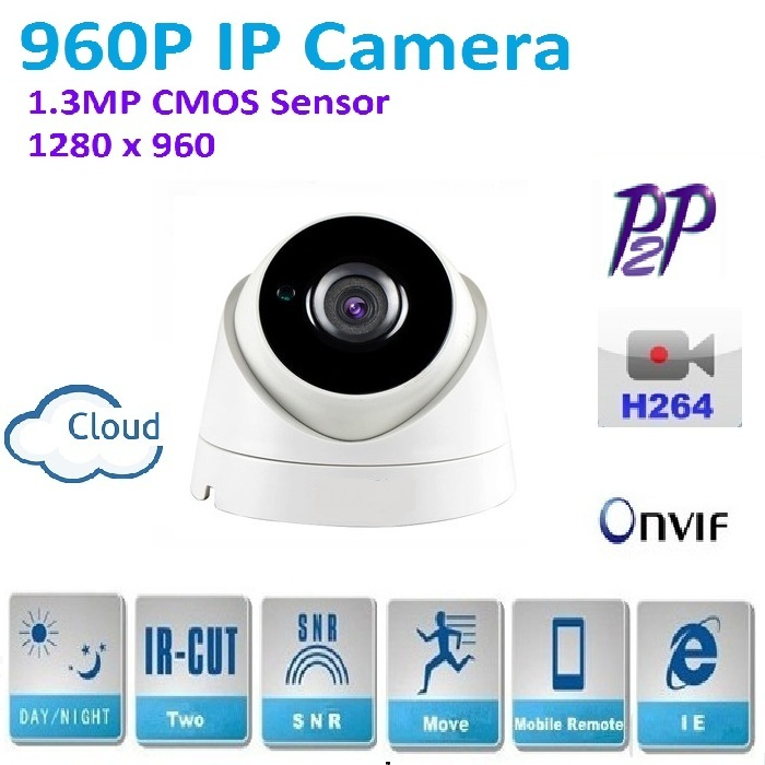 New type 1280*960P 1.3MP Mini Dome 960P IP Camera support ONVIF P2P H.264 Indoor network IR CUT Night Vision easy Plug and Play, cnd лак маникюрный 502 cnd cnd 502 20502 9 мл