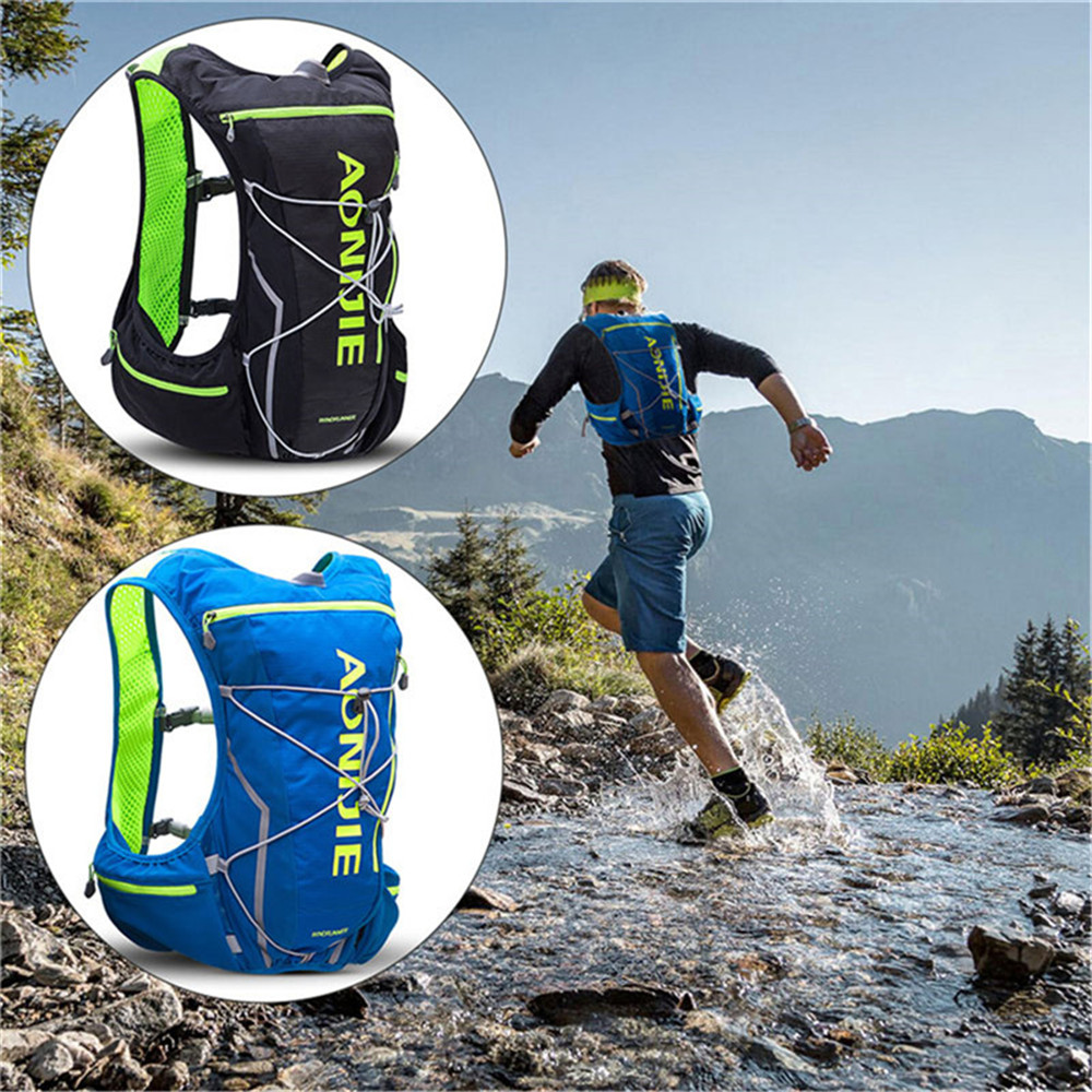 AONIJIE New Arrival Hydration Backpack Women Men 10L Running Vest Pack for Camping Hiking Cycling +250 ml Water Bottle(Optional) 10l professional hydration bag bicycle backpack for men road packsack rucksack vest bag hydration pack women s shoulder bags 508