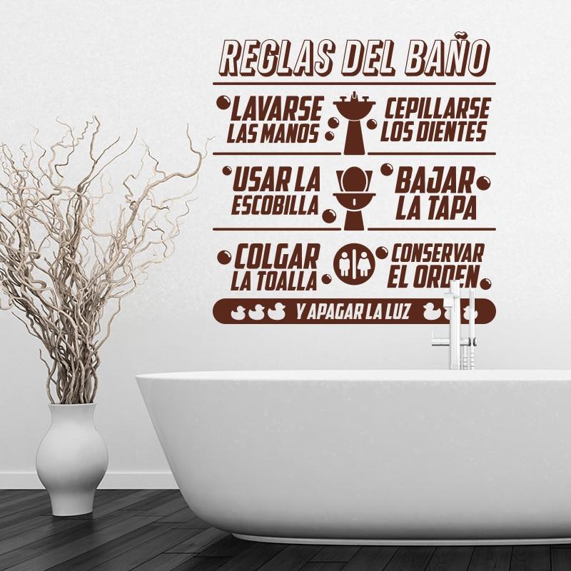 Art Design Zasady łazienki w języku hiszpańskim Cytat Naklejka - Wystrój domu - Zdjęcie 4