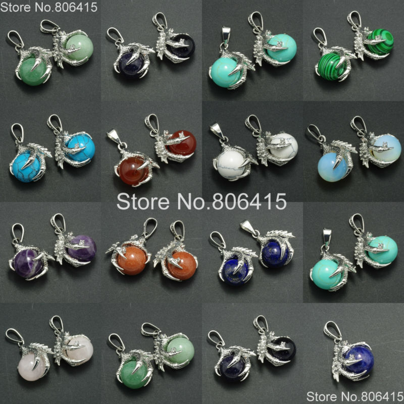 Natural Mixed Gems Stones Dragon Claw Ball Round Healing Reiki Chakra Earrings Pendant Beads Jewelry Making