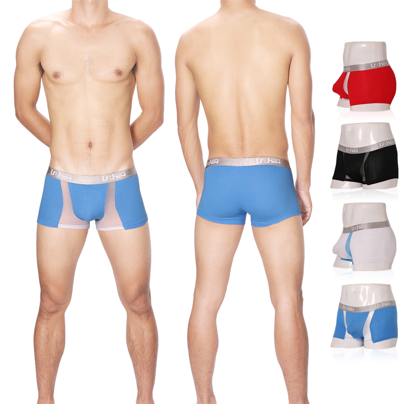 Comfortable Breathable Trend Uzhot Block Color Gauze Bag 100% Cotton Male Boxer Panties Sexy Panties 14007