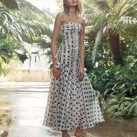 2019 Summer ZIM Style Runway Dress Women Sexy Strapless Polka Dot Pleated Dresses Female Holiday Party Boho Midi Dress