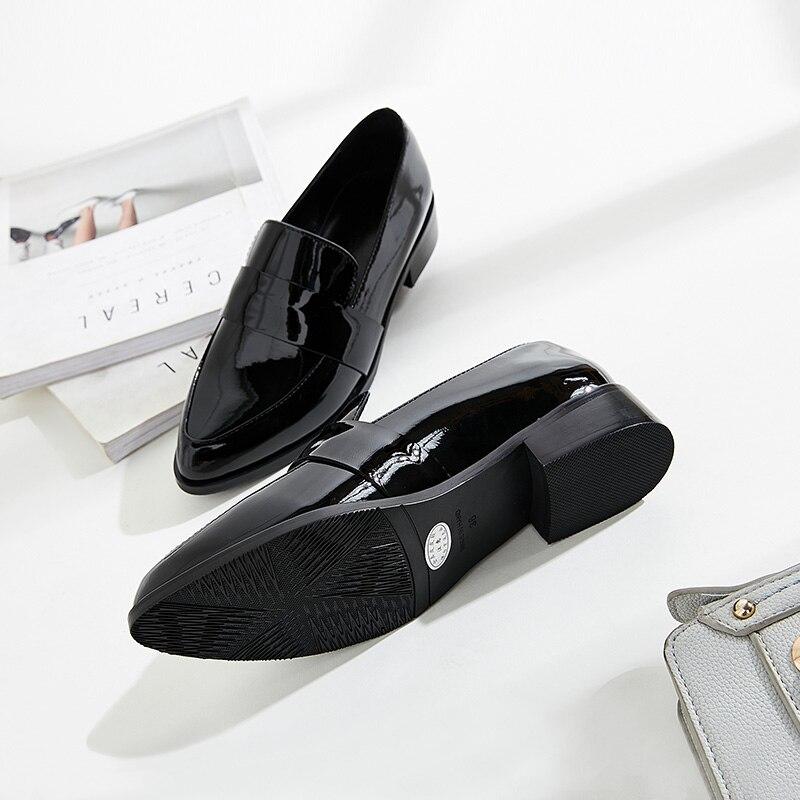 Petit Travail Avec De Et Nouveau Automne Cuir En Femme Printemps Épais Pointu 2 Mocassins Chaussures 1 rvrOqB