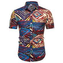 Mens Casual Floral Shirt Short sleeve Social Stripes for Men Blouse Male Summer New