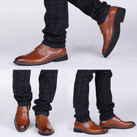 New High Quality Genuine Leather Men Brogues Shoes Lace Up Bullock Business Dress Men Oxfords Shoes Male Formal Shoes HH 519