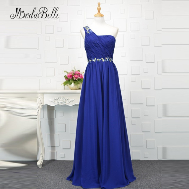 5d5e57389bd modabelle Royal Blue Colored Chiffon Bridesmaid Dress Beaded One Shouler  African Jurk Bruidsmeisje Plus Size Wedding Party Dress