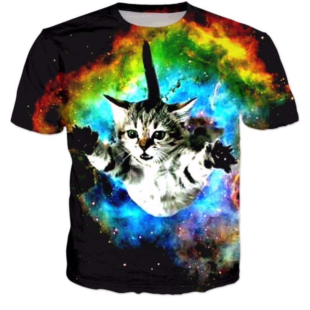free shipping tshirt women men 3d Flying Space Cat T Shirt cute