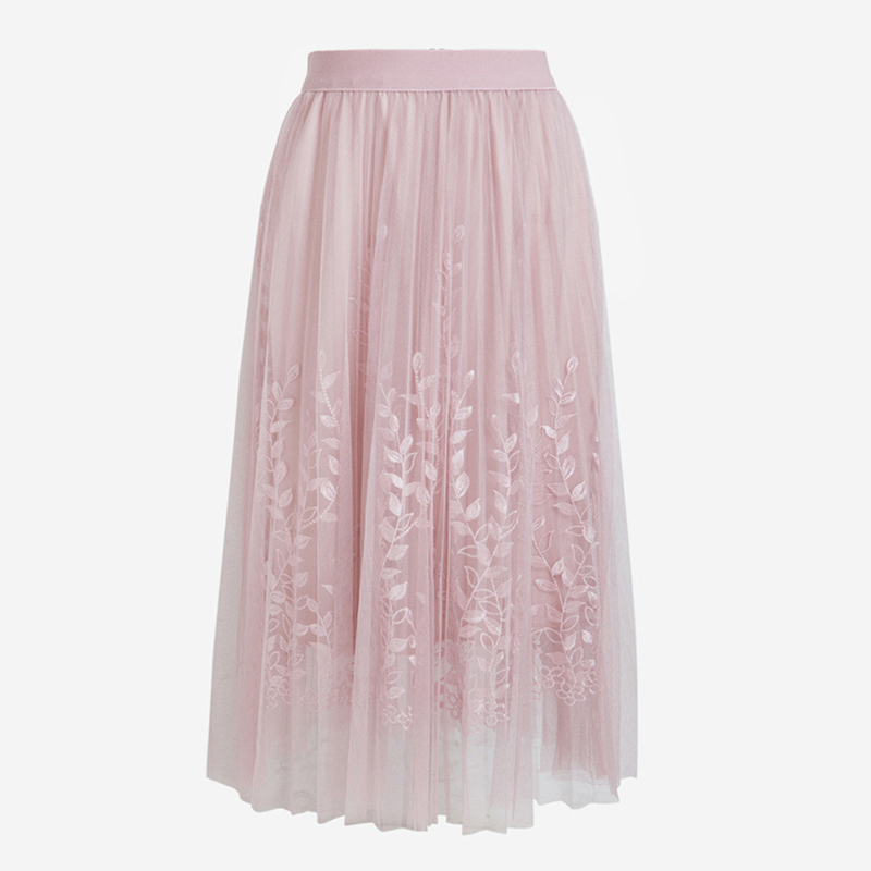 Floral Embroidery A-line Tutu Lace Mesh Skirt Women Elegant Tulle Long Pleated Skirt Women Midi Skirt Summer Hot Sale 9