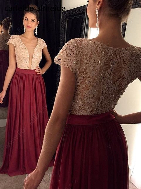 V-Neck Lace & Chiffon   Prom     Dresses   A-Line Long Vestidos de fiesta de noche Women's Formal   Dress   2018 Robe de bal longue