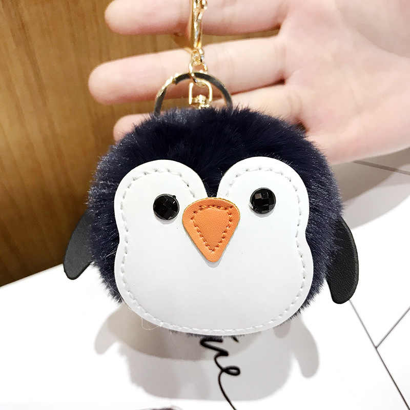 Macaron Cores Doces Bonito Couro PU Chaveiro Pinguim Fluff Tomenta Chaveiros Para As Mulheres Melhores Presentes de Aniversário Saco Acessório Do Carro