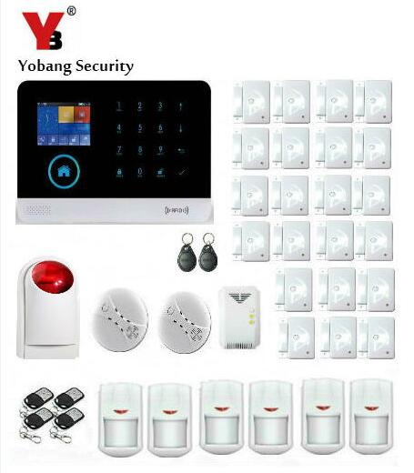 Yobang Security- APP Remote Control 2.4G Smart Home Security WIFI GSM GPRS Alarm Gas Sensor Smoke Detector PIR Motion Detection yobang security wifi gsm wireless pir home security sms alarm system glass break sensor smoke detector for home protection