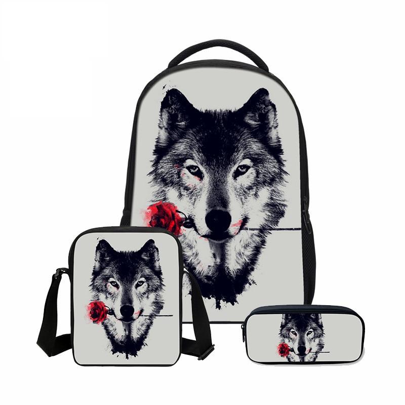 VEEVANV 3 PCS/SET Boys School Bag 3D Animal Bookbag Children Shoulder Bag Cool Wolf Printed Canvas Backpack Fashion Men Backpack